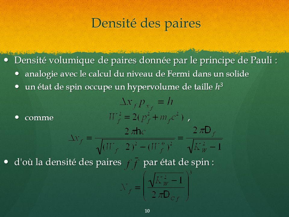 Densité des paires Densité volumique de paires donnée par le principe de Pauli : analogie avec le calcul du niveau de Fermi dans un solide.