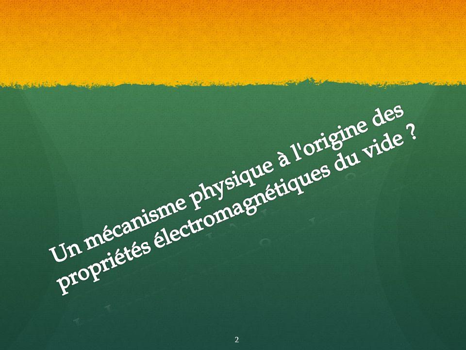 Un mécanisme physique à l origine des propriétés électromagnétiques du vide