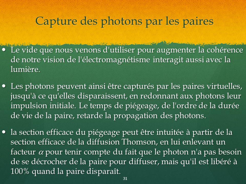 Capture des photons par les paires
