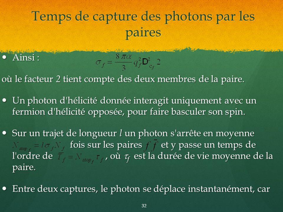 Temps de capture des photons par les paires