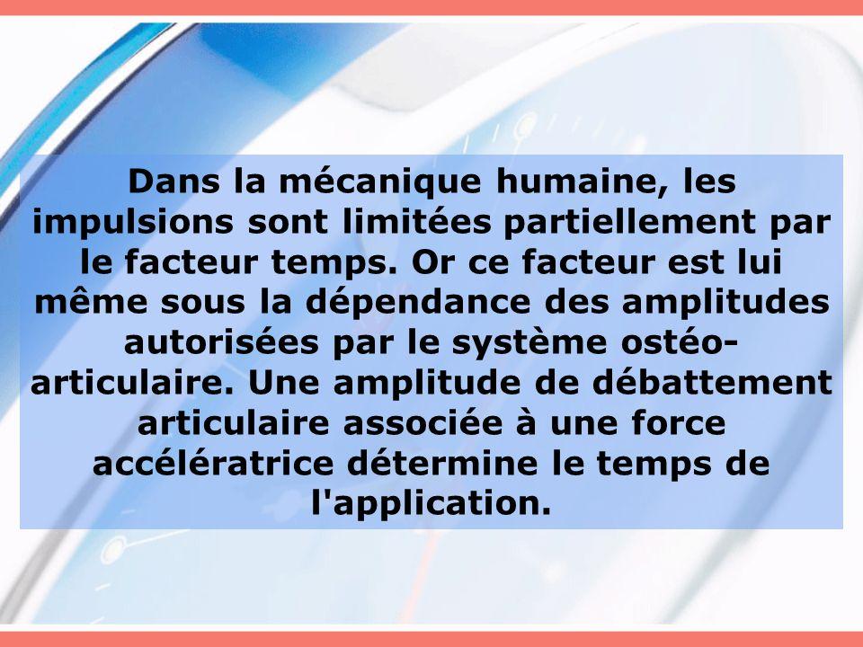 Dans la mécanique humaine, les impulsions sont limitées partiellement par le facteur temps.