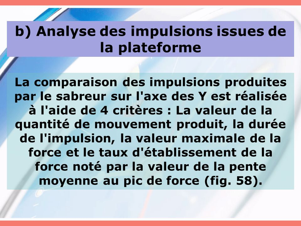 b) Analyse des impulsions issues de la plateforme