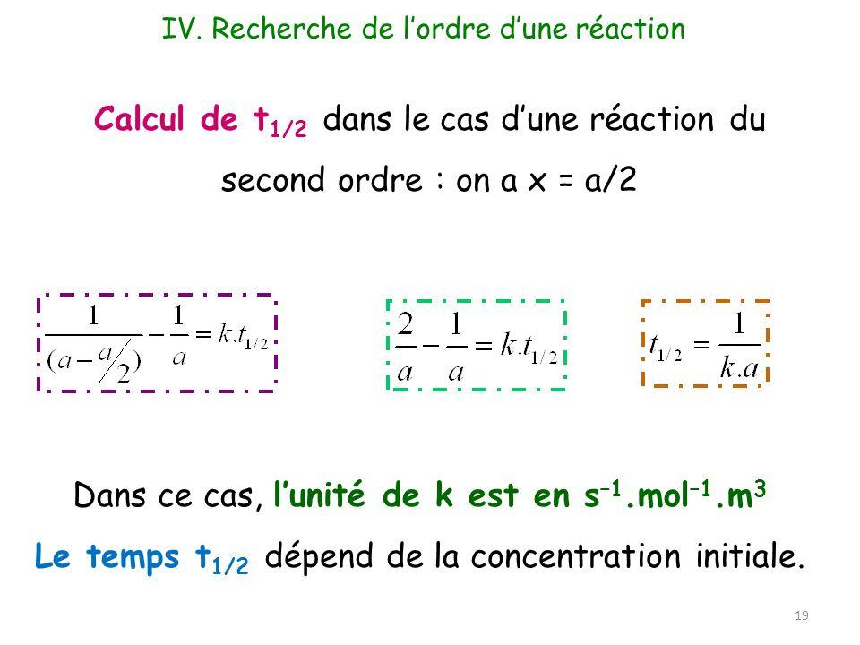 Dans ce cas, l'unité de k est en s–1.mol–1.m3