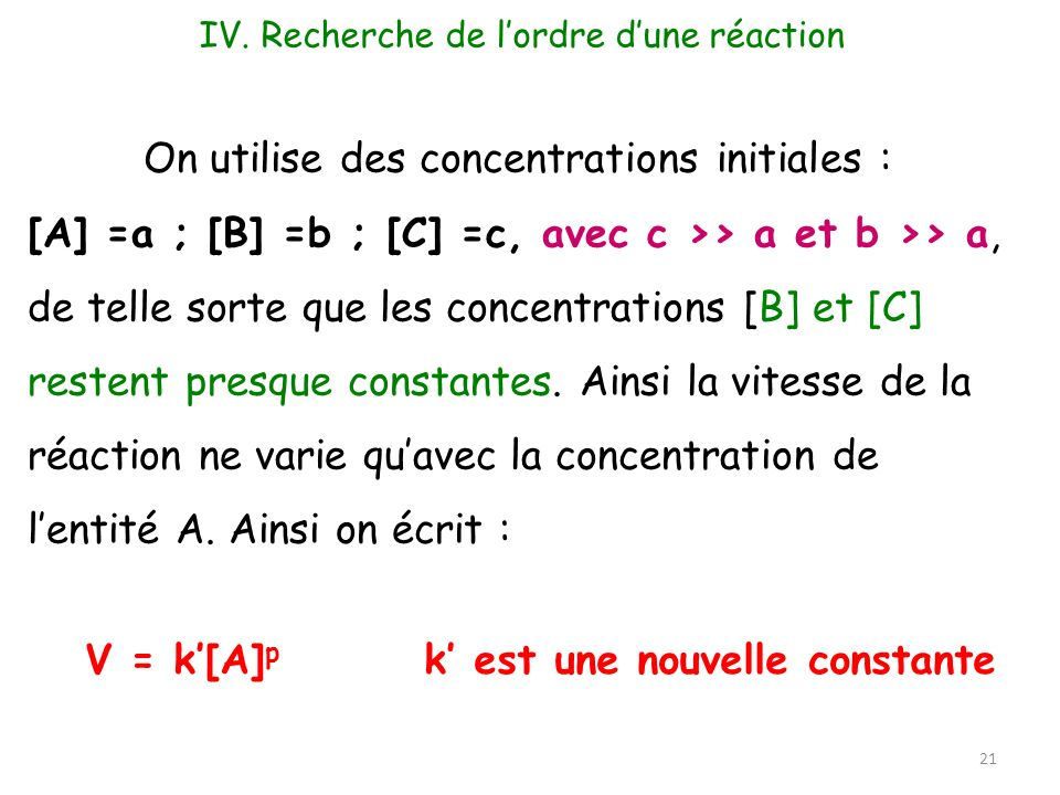 On utilise des concentrations initiales :
