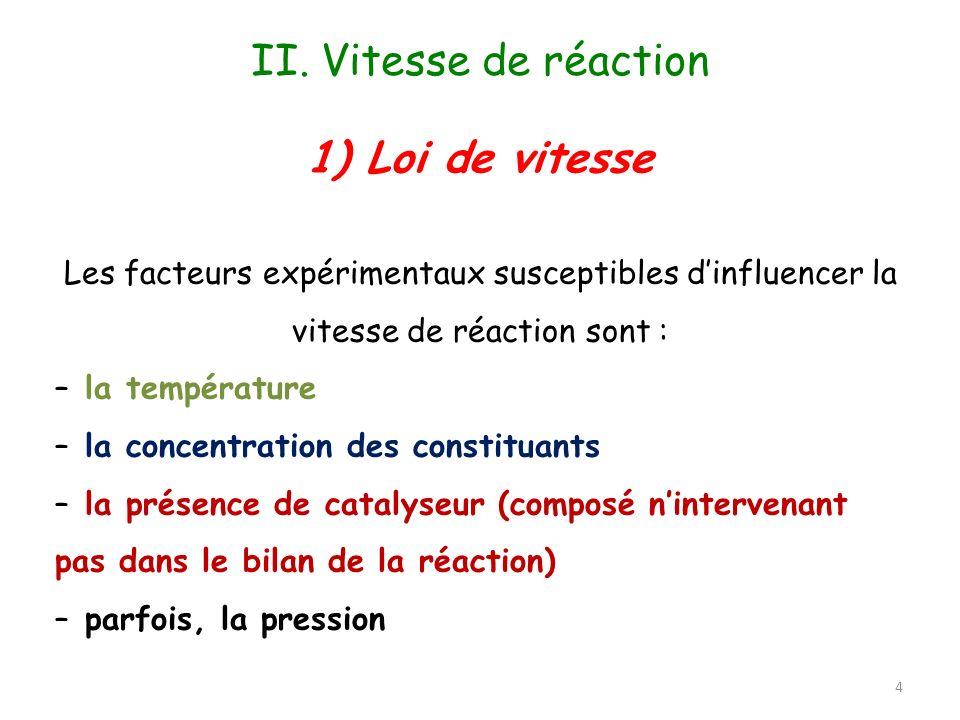 II. Vitesse de réaction 1) Loi de vitesse