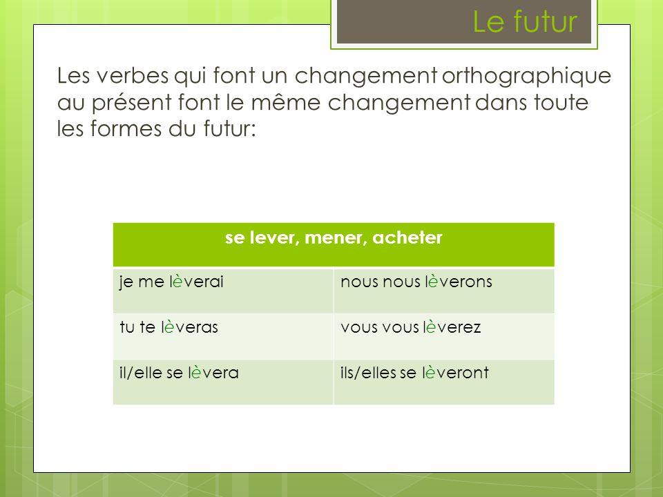 Le futur Les verbes qui font un changement orthographique au présent font le même changement dans toute les formes du futur: