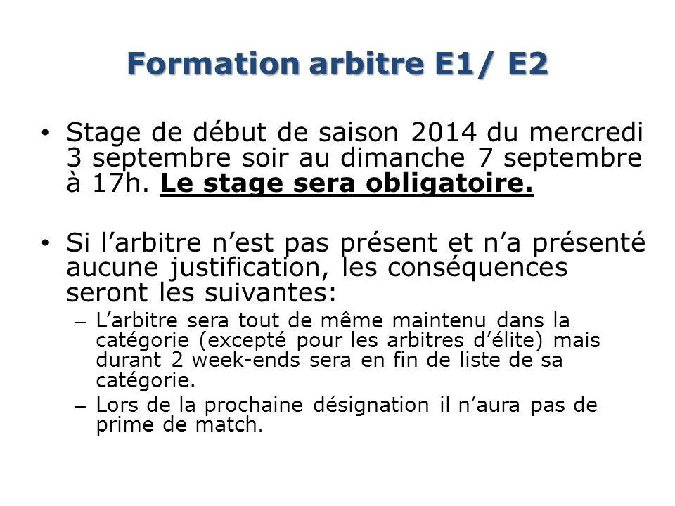 Formation arbitre E1/ E2 Stage de début de saison 2014 du mercredi 3 septembre soir au dimanche 7 septembre à 17h. Le stage sera obligatoire.
