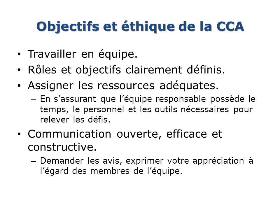 Objectifs et éthique de la CCA