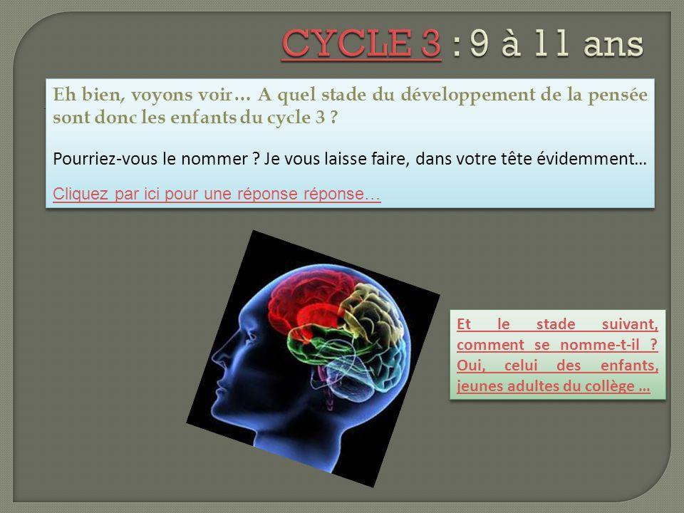 CYCLE 3 : 9 à 11 ans Eh bien, voyons voir… A quel stade du développement de la pensée sont donc les enfants du cycle 3