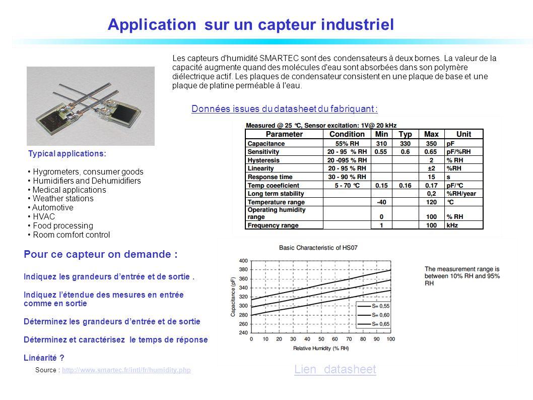 Application sur un capteur industriel
