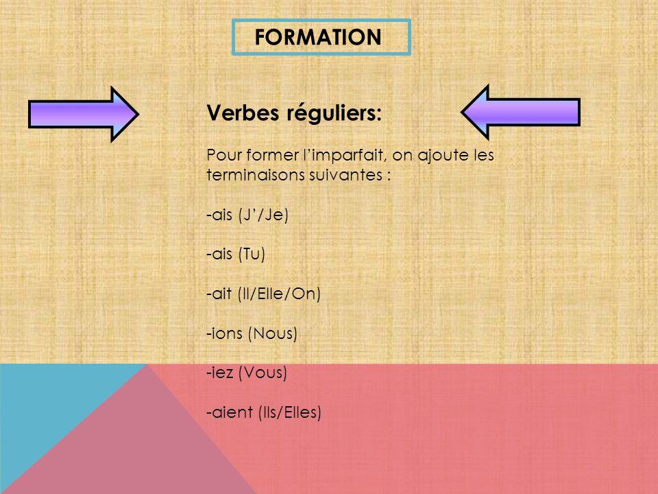 FORMATION Verbes réguliers: