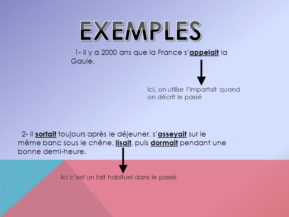 EXEMPLES 1- Il y a 2000 ans que la France s'appelait la Gaule.
