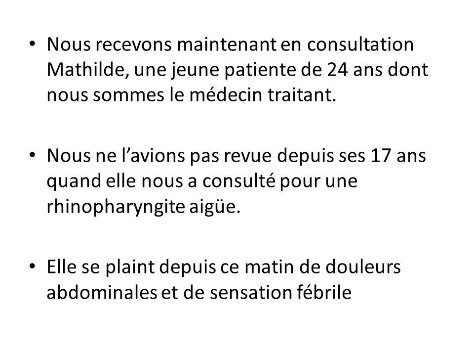 Nous recevons maintenant en consultation Mathilde, une jeune patiente de 24 ans dont nous sommes le médecin traitant.