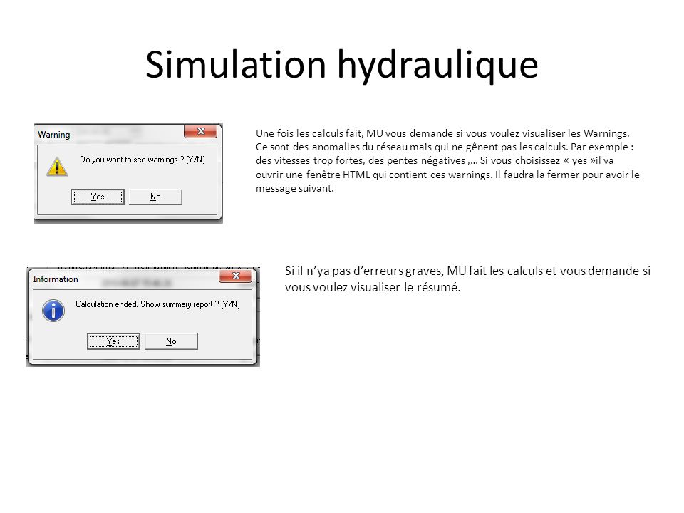 Simulation hydraulique