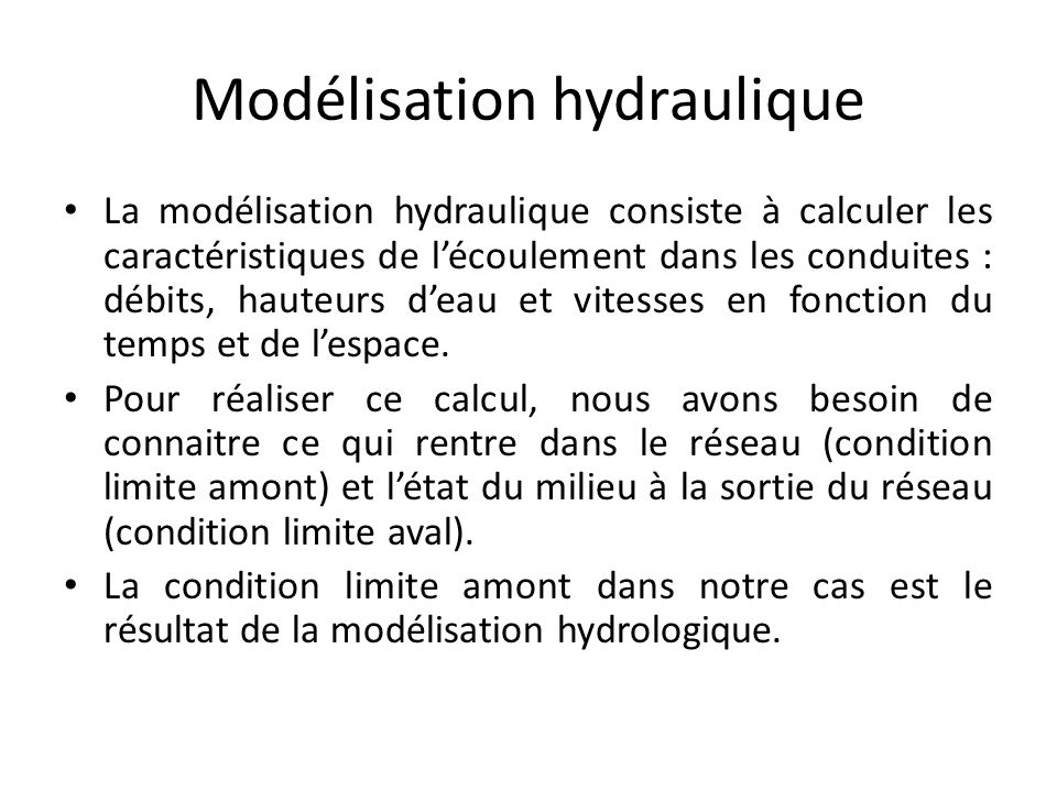 Modélisation hydraulique