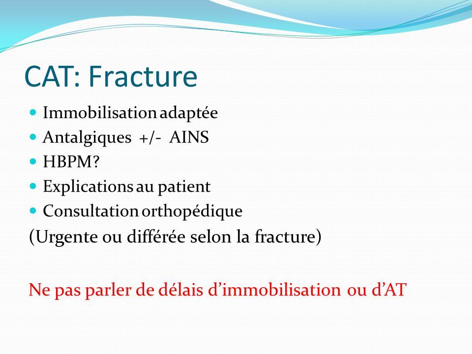CAT: Fracture (Urgente ou différée selon la fracture)