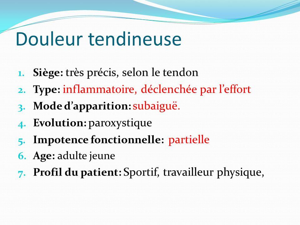 Douleur tendineuse Siège: très précis, selon le tendon