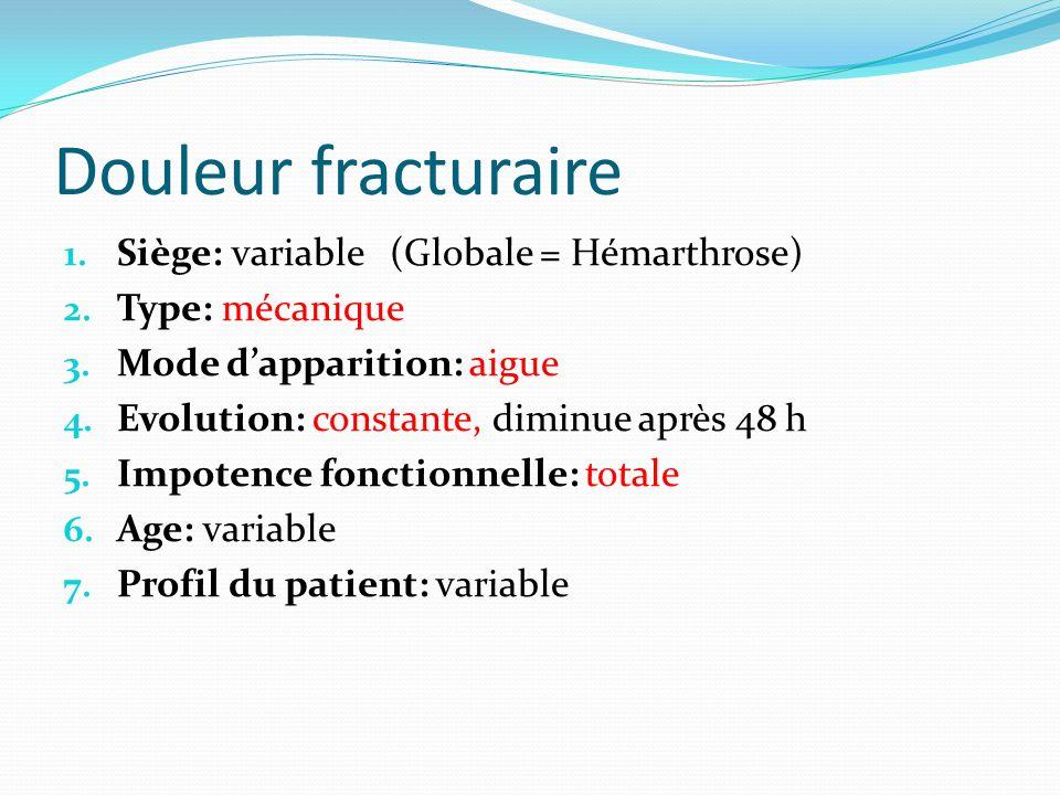 Douleur fracturaire Siège: variable (Globale = Hémarthrose)
