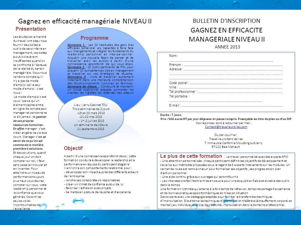 Gagnez en efficacité managériale NIVEAU II