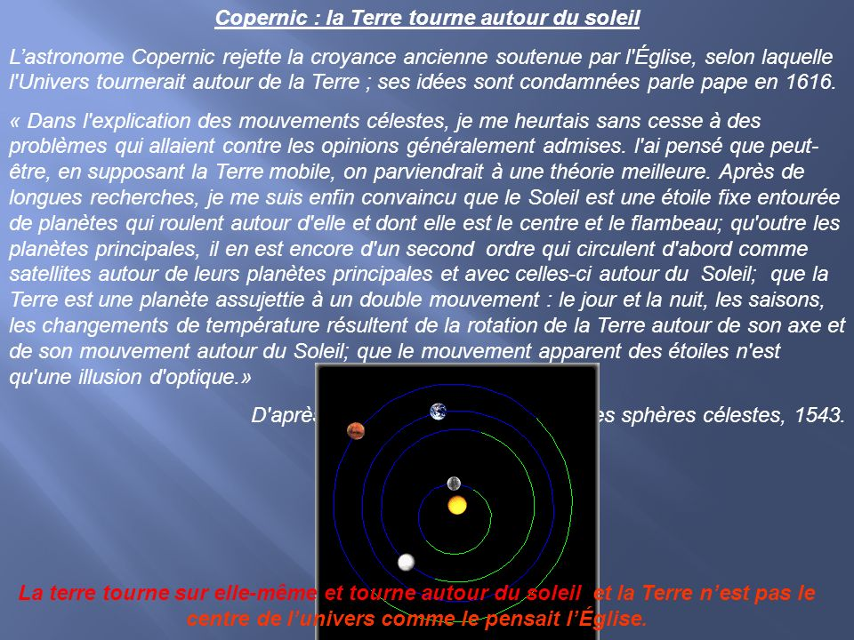 Copernic : la Terre tourne autour du soleil