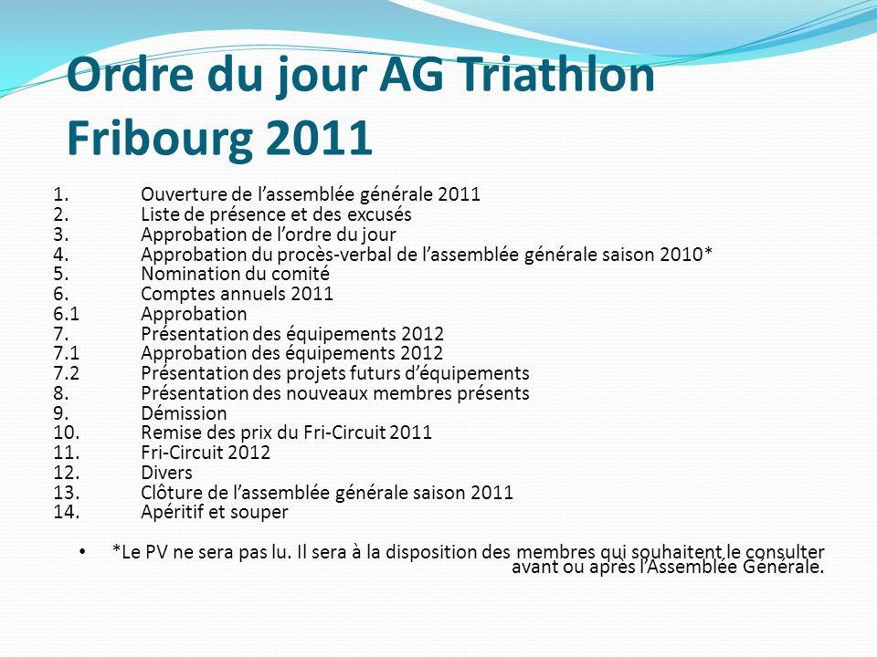 Ordre du jour AG Triathlon Fribourg 2011