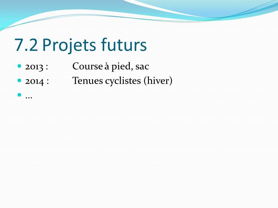 7.2 Projets futurs 2013 : Course à pied, sac