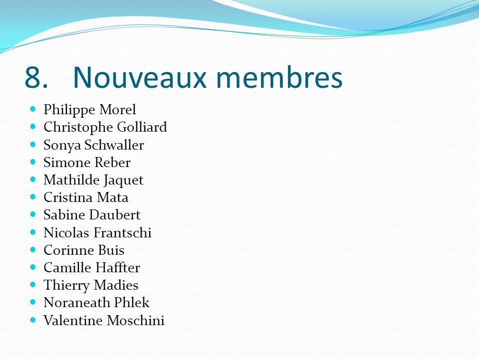 8. Nouveaux membres Philippe Morel Christophe Golliard Sonya Schwaller