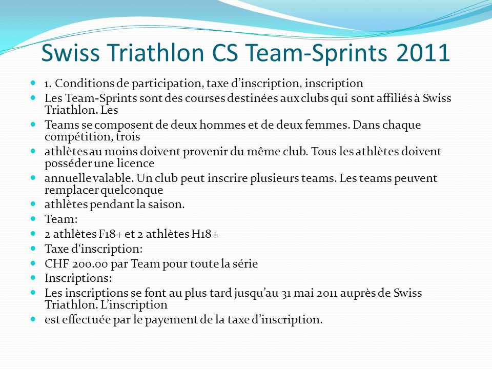 Swiss Triathlon CS Team-Sprints 2011
