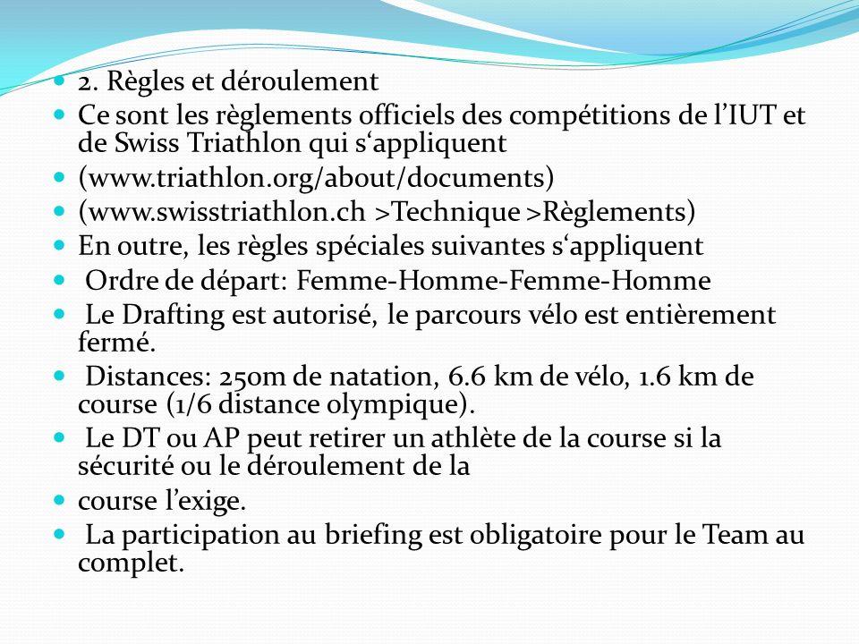2. Règles et déroulement Ce sont les règlements officiels des compétitions de l'IUT et de Swiss Triathlon qui s'appliquent.