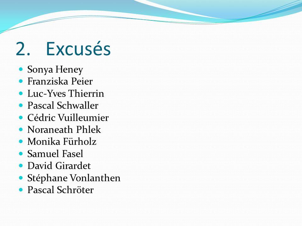2. Excusés Sonya Heney Franziska Peier Luc-Yves Thierrin