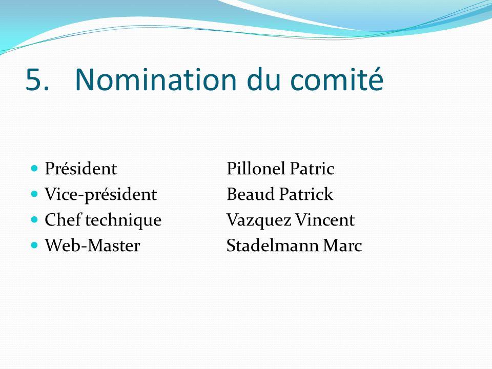5. Nomination du comité Président Pillonel Patric