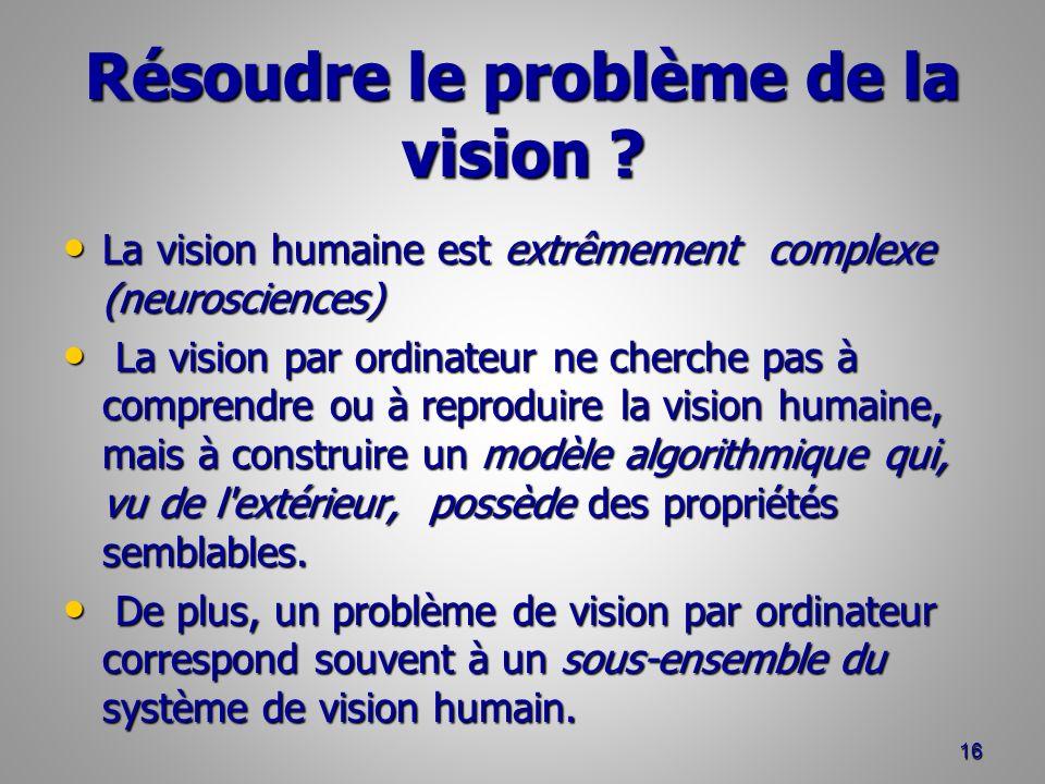 Résoudre le problème de la vision