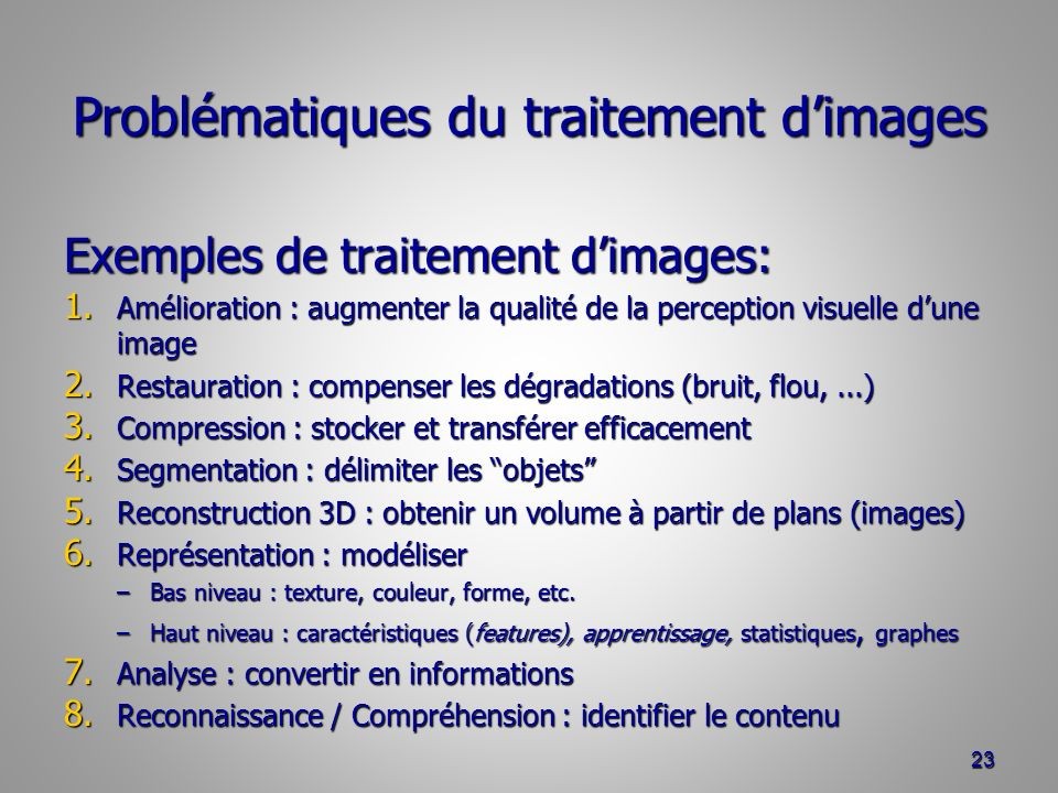 Problématiques du traitement d'images