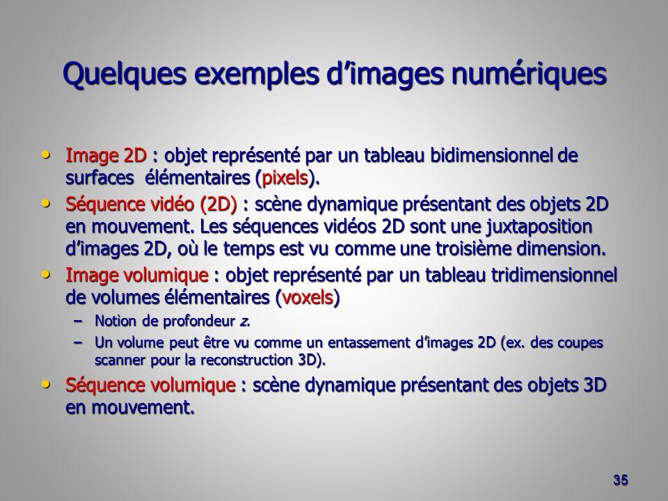 Quelques exemples d'images numériques