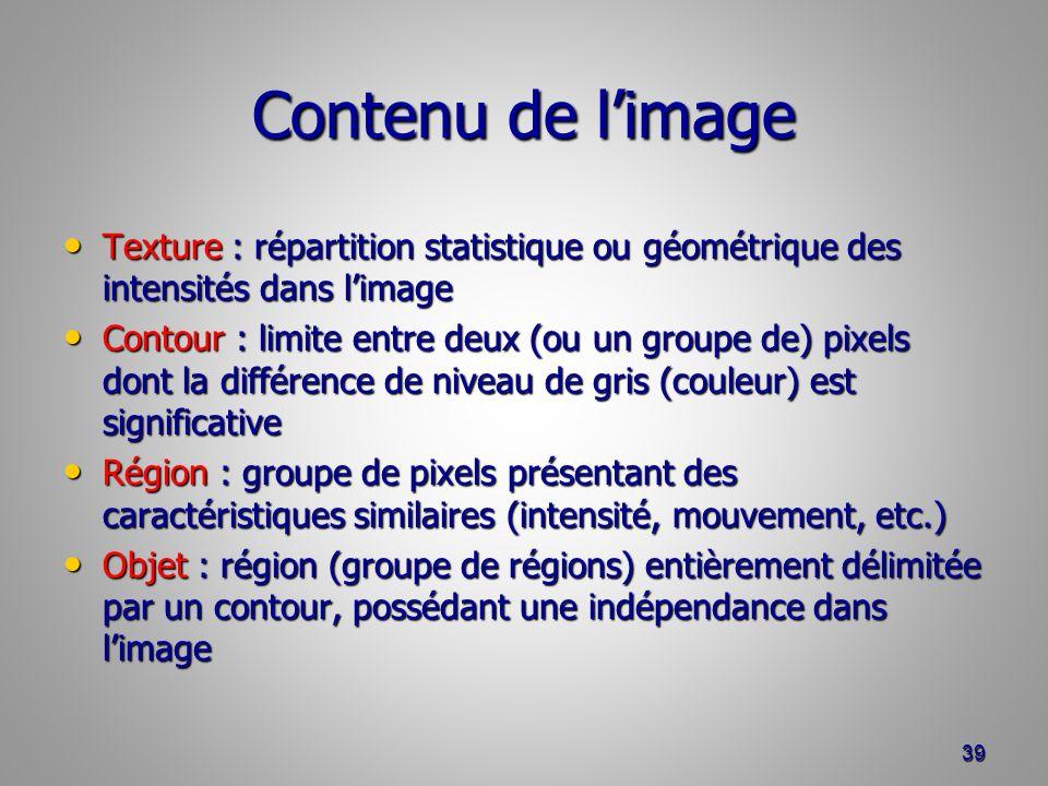 Contenu de l'image Texture : répartition statistique ou géométrique des intensités dans l'image.