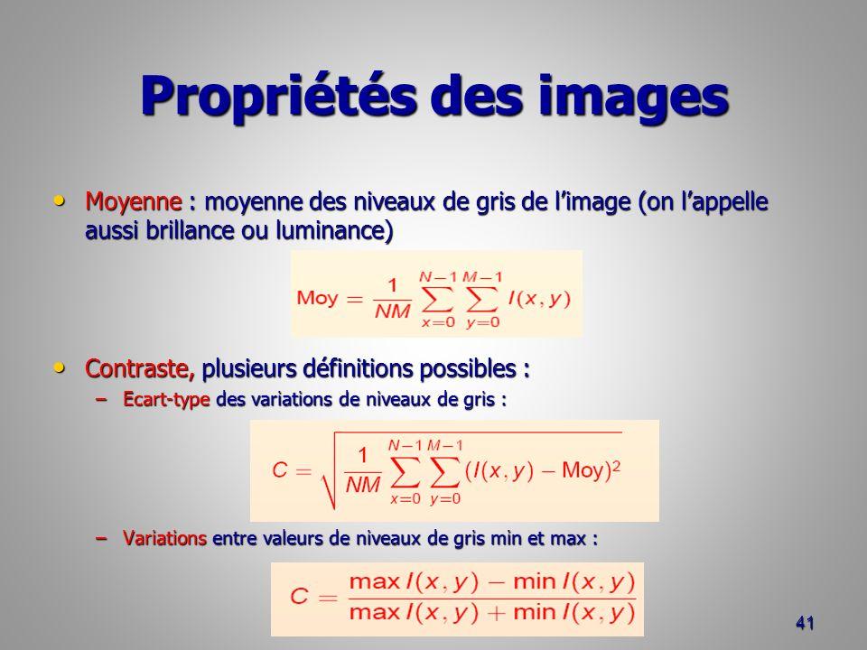 Propriétés des images Moyenne : moyenne des niveaux de gris de l'image (on l'appelle aussi brillance ou luminance)