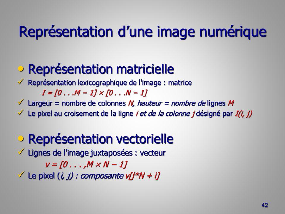 Représentation d'une image numérique