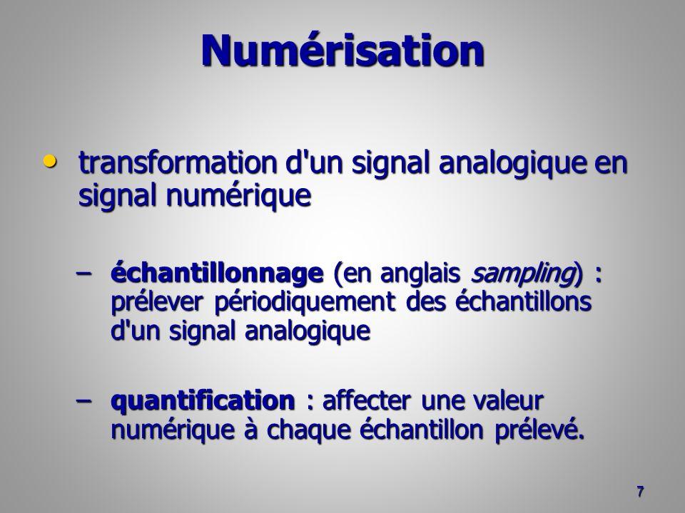 Numérisation transformation d un signal analogique en signal numérique