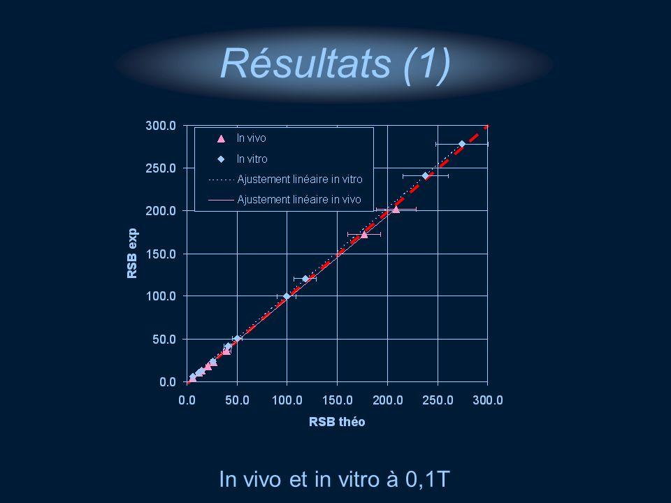 Résultats (1) In vivo et in vitro à 0,1T