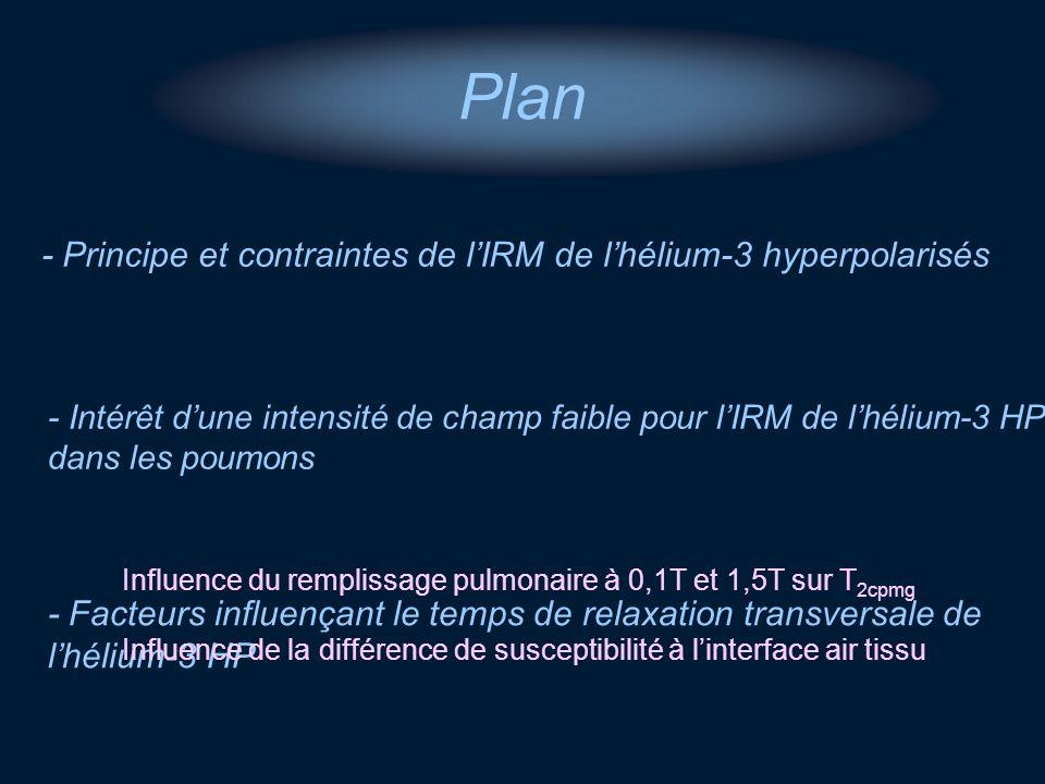 Plan - Principe et contraintes de l'IRM de l'hélium-3 hyperpolarisés