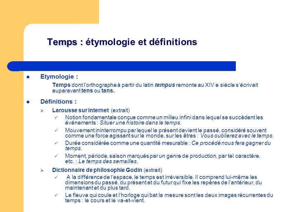 Temps : étymologie et définitions