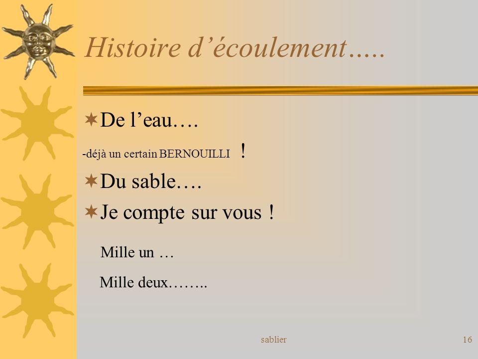 Histoire d'écoulement…..