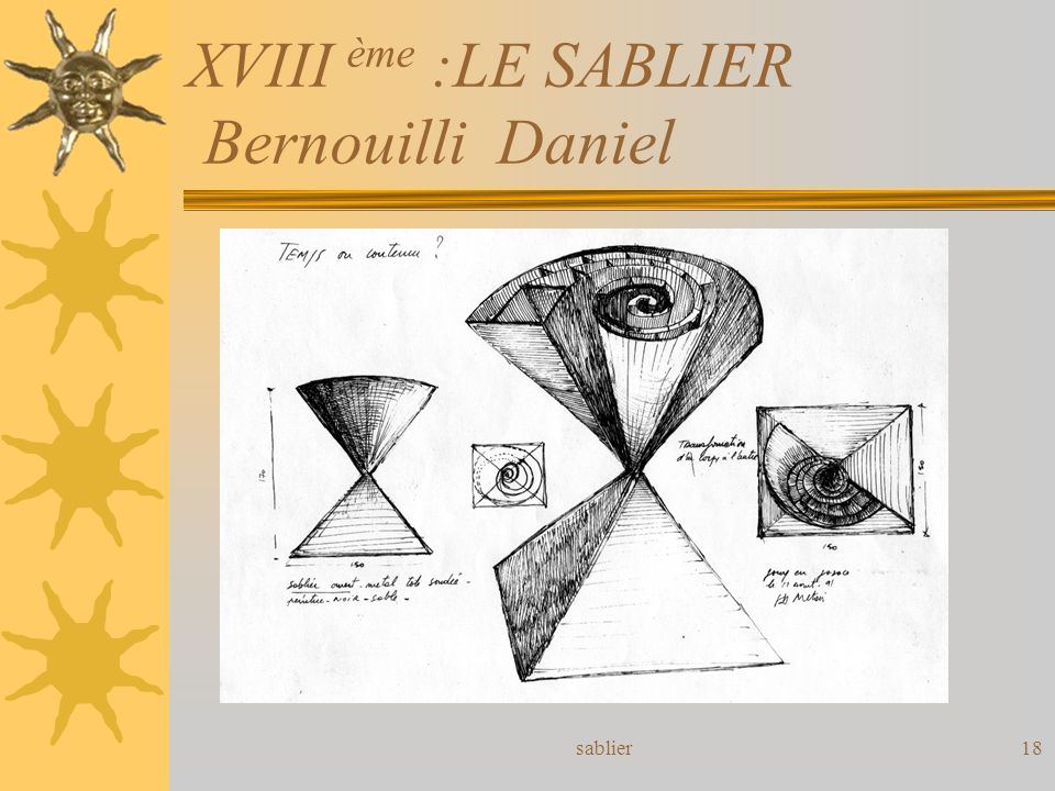 XVIII ème :LE SABLIER Bernouilli Daniel