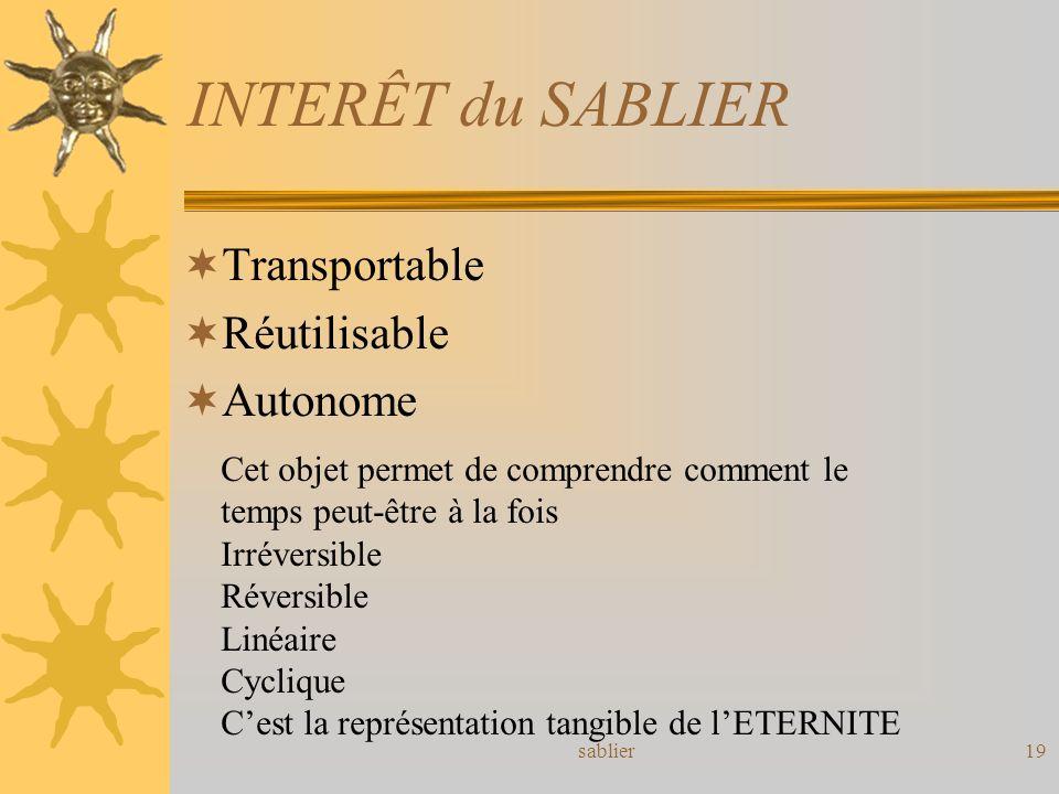 INTERÊT du SABLIER Transportable Réutilisable Autonome