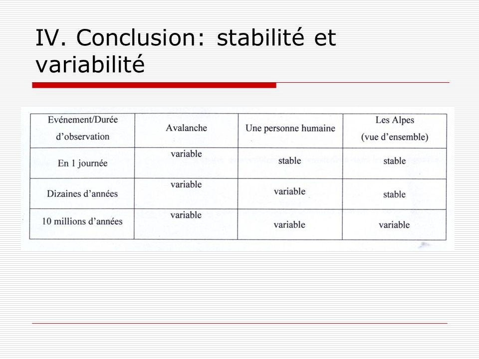 IV. Conclusion: stabilité et variabilité