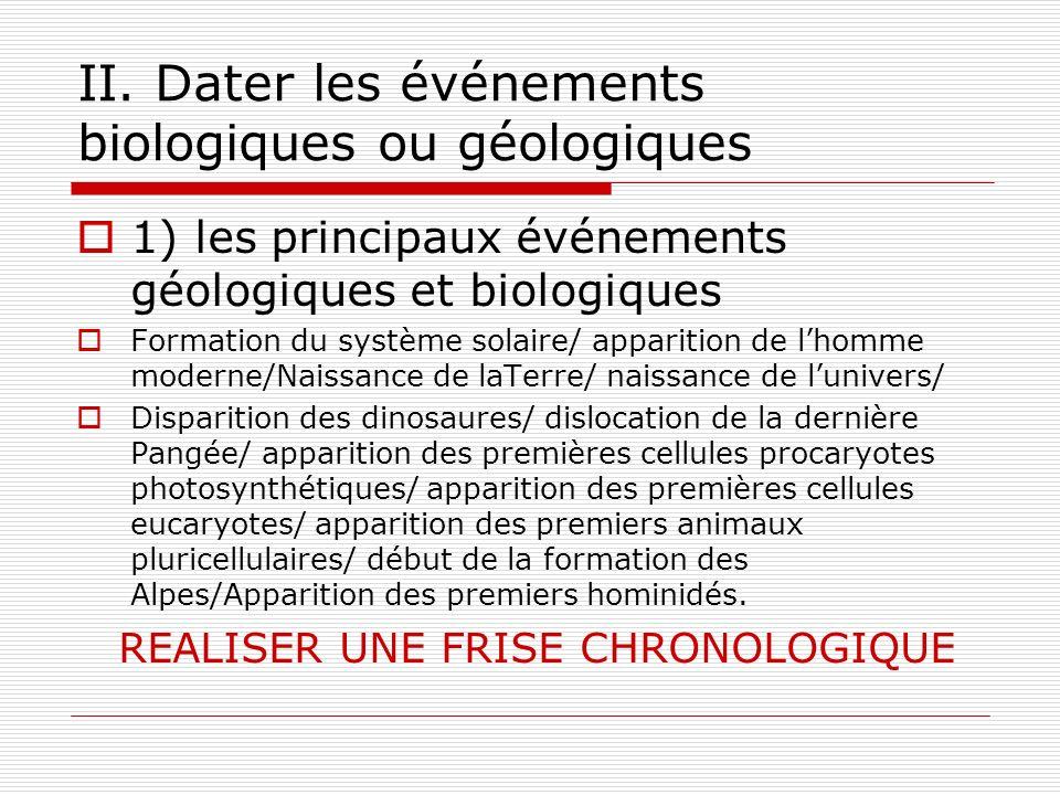 II. Dater les événements biologiques ou géologiques