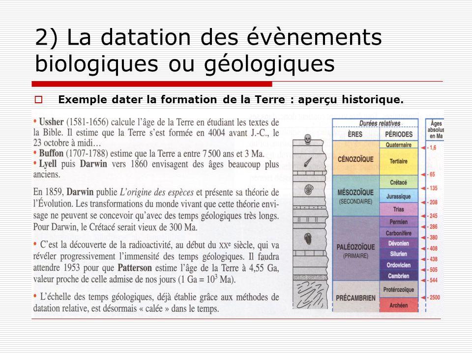 2) La datation des évènements biologiques ou géologiques