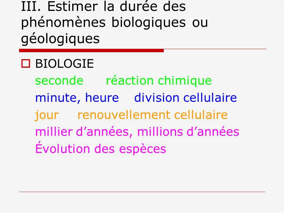 III. Estimer la durée des phénomènes biologiques ou géologiques