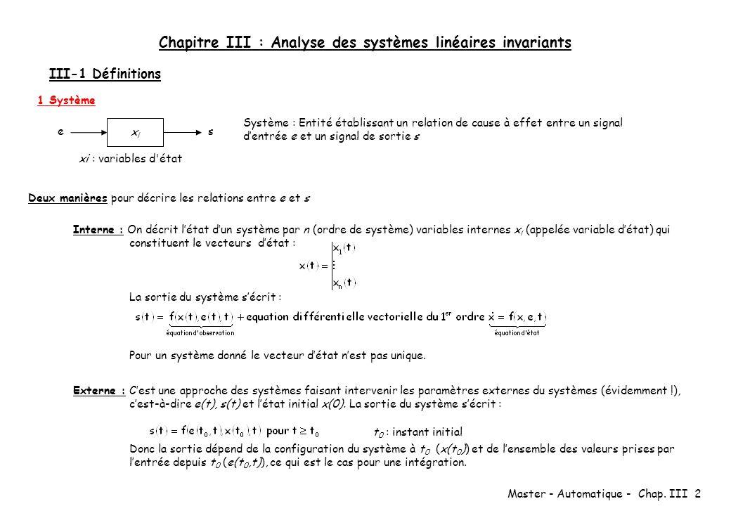 Chapitre III : Analyse des systèmes linéaires invariants
