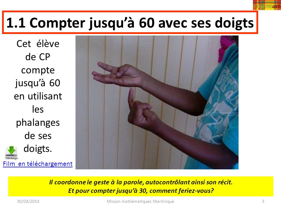 1.1 Compter jusqu'à 60 avec ses doigts